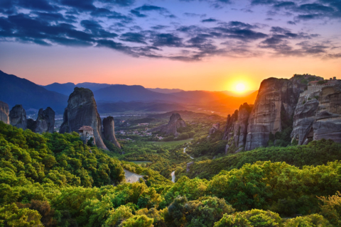 Breathtaking Meteora sunset